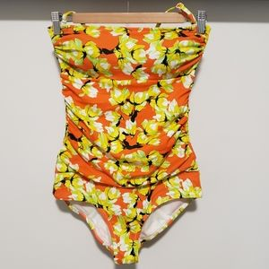 3/25 Retro Floral Strapless Bathing Suit
